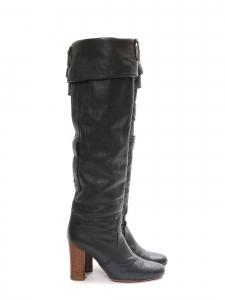 Paddington dark grey green leather heel boots Retail price €700 Size 37
