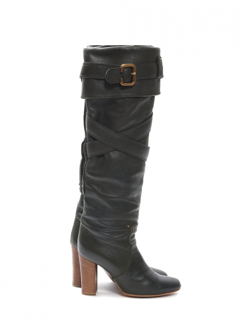 Paddington dark grey green leather heel boots Retail price €700 Size 37