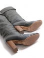 Bottes Paddington à talon en cuir gris vert foncé Prix boutique 750€ Taille 37