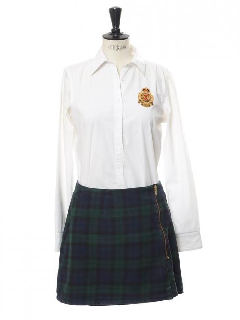 Mini jupe trapèze en coton imprimé écossais bleu et vert Taille 36/38