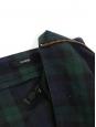 Mini jupe trapèze en coton imprimé écossais bleu et vert Taille 36