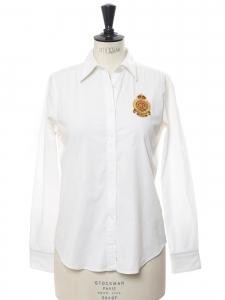Chemise manches longues en coton blanc et écusson jaune Prix boutique 140€ Taille 36