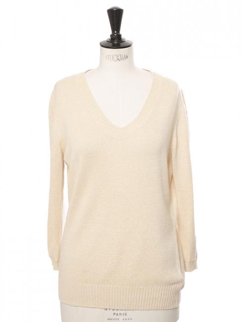 Pull col rond en laine vanille crème Prix boutique 350€ Taille 36