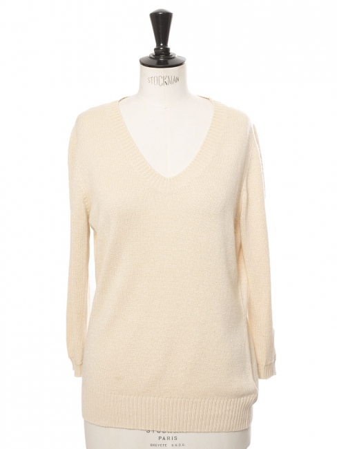 Vanilla cream wool round neck sweater Retail price €350 Size 36