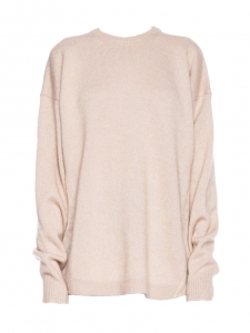 DEMI MIX round neckline oversized beige pink wool blend sweater Retail price $430