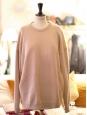 DEMI MIX round neckline oversized beige pink wool blend sweater Retail price $430