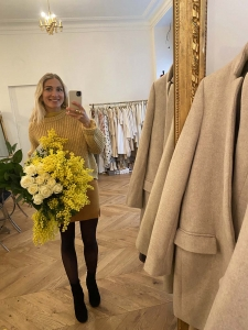 HIRA honey yellow heavy knit wool sweater Retail price $700 Size 36