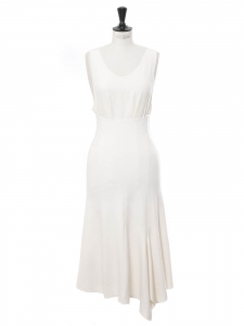 Poetic drape ivory white wool blend high waist maxi skirt Retail price €460 Size 36