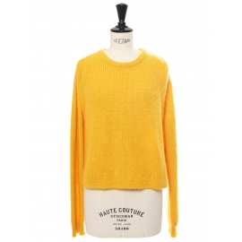 Round neckline sunflower yellow mohair and wool sweater Retail price €340 Size 36