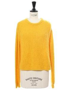 Pull col rond en mohair et laine jaune tournesol Prix boutique €320 Taille 36