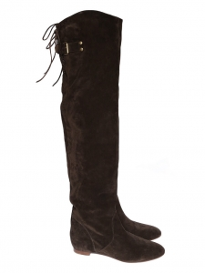 Chocolate brown suede over-the-knee flat boots Retail price €1190 Size 36