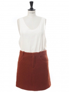 Terracotta red bouclé wool mini skirt Retail price €800 Size 36