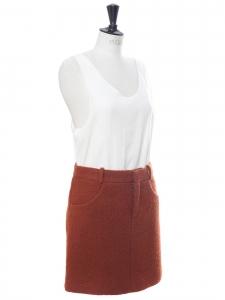 Terracotta red bouclé wool mini skirt Retail price €800 Size 36