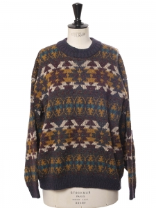 Pull col rond d'hiver en laine à motif gris foncé, jaune, bleu, vert et écru Taille L