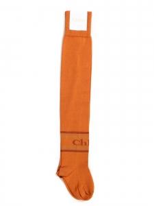 Chaussettes bas INTARSIA hautes en coton orange Prix boutique 130€