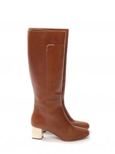 Bottes hauteur genoux en cuir marron cognac à petit talon Prix boutique750€ Taille 37