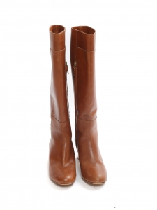 Cognac brown leather low heel knee high boots Retail price €750 Size 37