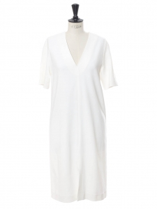 Short sleeves V neck midi white crêpe dress Retail price €730 Size 36
