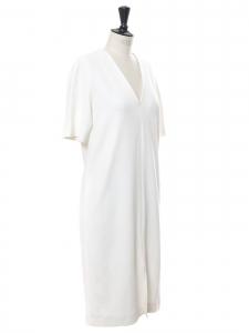 Short sleeves V neck midi white crêpe dress Retail price €730 Size 36
