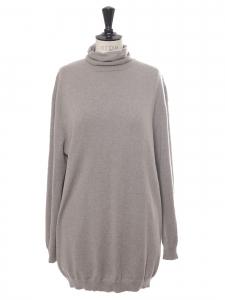 Pull col roulé en cachemire beige gris Prix boutique 480€ Taille XL