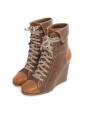 Camel and honey brown leather laced up wedge ankle boots Retail price €600 Size 38