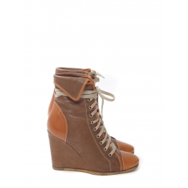 Camel and honey brown leather laced up wedge ankle boots Retail price €600 Size 39