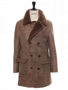 Veste manteau en peau retournée marron noisette Taille L