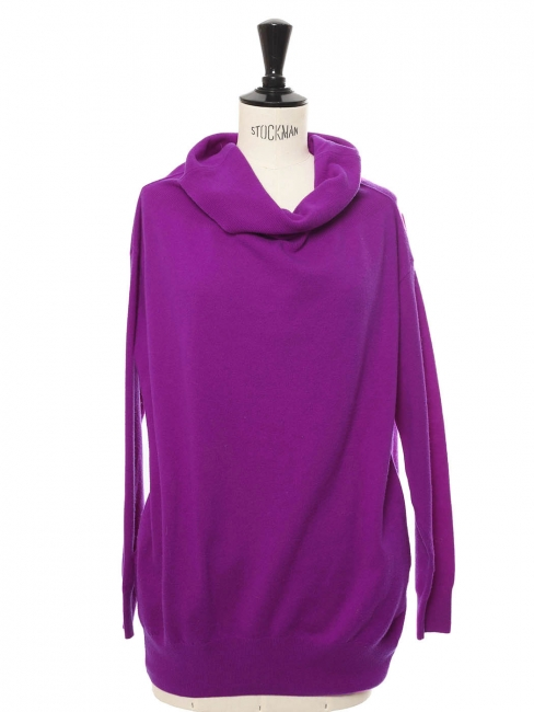 Off-the-shoulder or shawl neckline purple wool sweater Retail price €650 Size 36