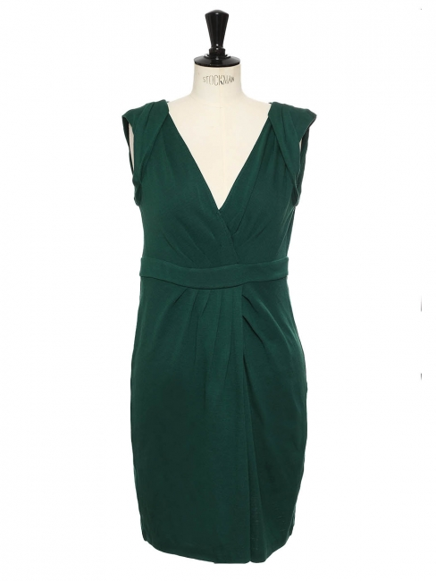 Whitley english green wool jersey draped and décolleté dress Retail price €420 Size 40 (US10)