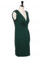 Whitley english green wool jersey draped and décolleté dress Retail price €420 Size 36