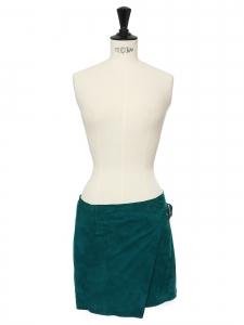 Mini jupe portefeuille Lauris en daim vert émeraude Prix boutique 285€ Taille 34