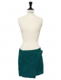 Lauris emerald green suede wrap mini skirt Retail price €285 Size XS
