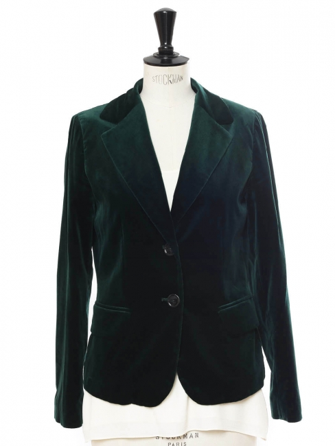English green velvet blazer jacket Retail price €450 Size 38