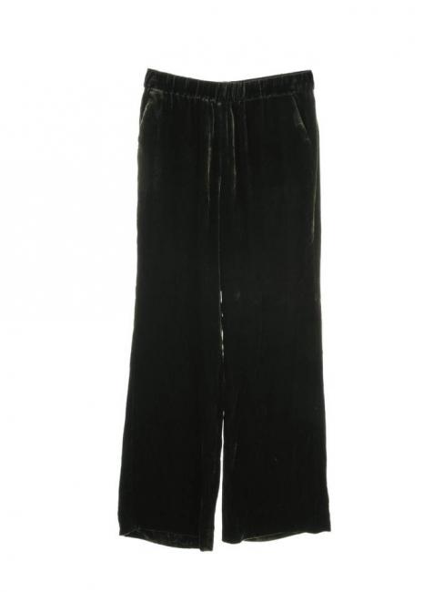 Dark green velvet fluid wide leg pants Retail price €415 Size 38