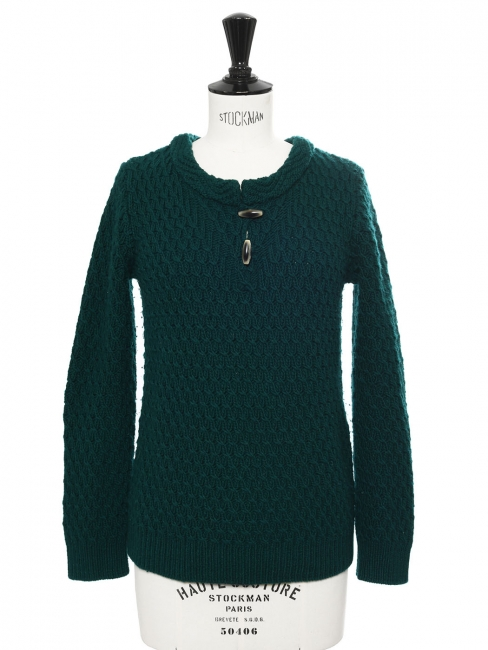 Dark green wool heavy Irish knit sweater Retail price €290 Size XS to S