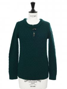 Pull col rond en grosse maille irlandaise de laine vert foncé Prix boutique 290€ Taille XS