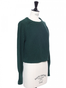 Round neck green cotton knitted sweater size XS