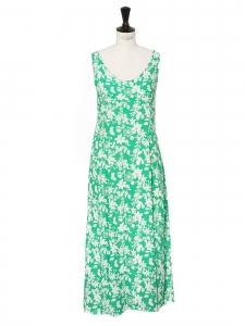 Robe longue dos nu à bretelles imprimé fleuri vert et blanc Taille 38