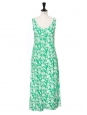 White and green floral print open back maxi dress with large straps Size 38