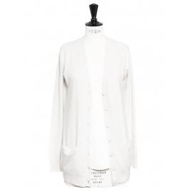 Ivory white cashmere cardigan Retail price €300 Size S