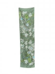 Foulard en soie imprimé fleuri vert blanc et bleu