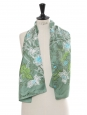 Pink, blue and green flower print silk scarf