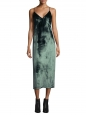 Deep green silk velvet slip dress with low open back and plunging neckline Retail price $298 Size 34