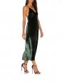 Robe de cocktail en velours vert foncé décolleté plongeant et dos nu Prix boutique $298 Taille XS