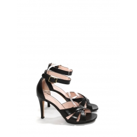 High heel black leather ankle strap sandals Retail price €550 Size 37