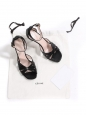 High heel black leather ankle strap sandals Retail price €550 Size 39.5