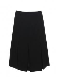 Jupe taille haute mi-longue à plissés en crêpe de laine noir Prix boutique 1000€ Taille 36/38