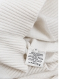 White cashmere wool sweater with black buttons at shoulder Retail price €1100 Size XS