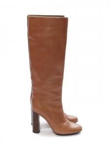 Bottes hautes à talon bois en cuir marron camel noisettes Prix boutique 1000€ Taille 39,5