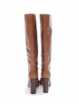 Hazelnut / Camel brown leather wooden high heel boots Retail price €1000 Size 39.5